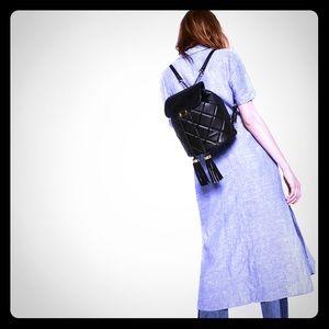 Zara Talla Tassel Black Quilted Backpack- MINT!!